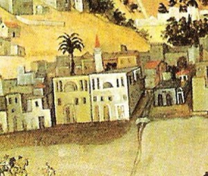 """Λεπτομέρεια από το γνωστό πίνακα CIVITAS RETHYMNAE, όπου φαίνονται τα δύο κτήρια δίπλα στο χείμαρρο """"Καμαράκι""""."""